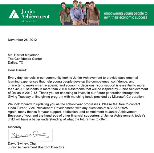 Junior Achievement Thank You Letter to Confidence Center